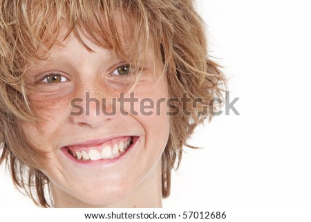 happy kid with beautiful smile and good skin and hair - stock photo