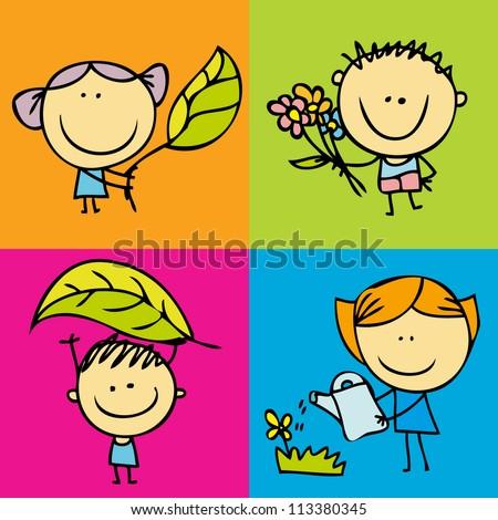 Happy kids and garden icon set - stock photo
