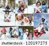 Happy kids and their parents spending leisure in winter park - stock photo