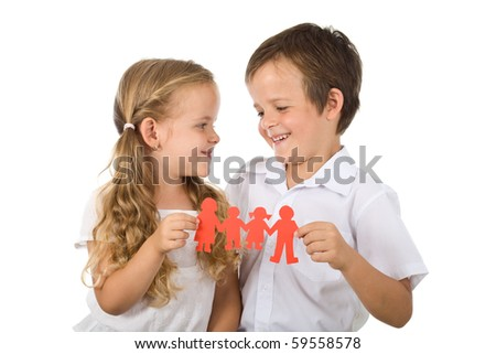 Happy kids holding paper people - united family concept, isolated - stock photo