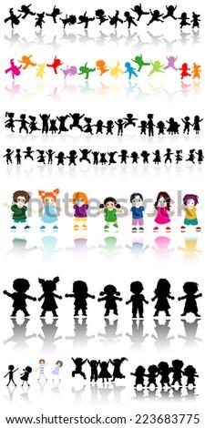 happy kids, illustration set - stock photo