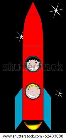 happy kids in space drawing, abstract art illustration; for vector format please visit my gallery - stock photo
