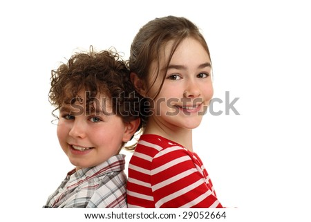 Happy kids isolated on white background