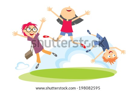 Happy Kids Jumping - stock photo