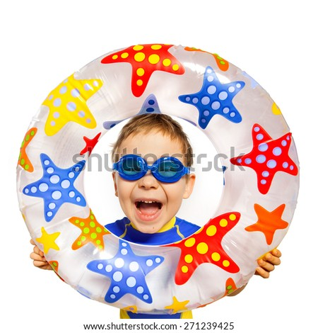 Happy kids look out of inflatable ring. Isolated on white background. Vacation, summer, sea concept. - stock photo