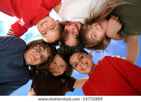 Happy Kids Looking at the Viewer - stock photo