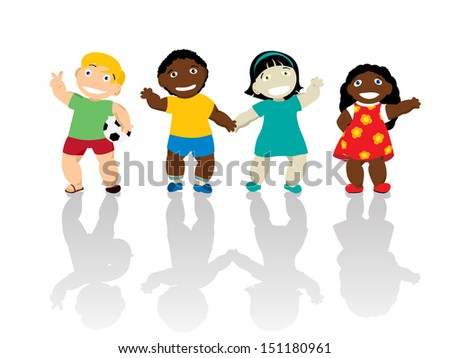 Happy kids of different ethnicity smiling and waving hands. Isolated and grouped over white background - stock photo
