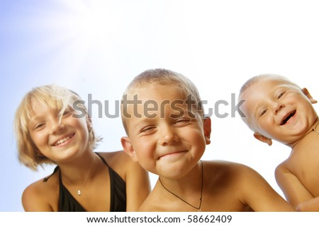 Happy Kids Outdoor - stock photo