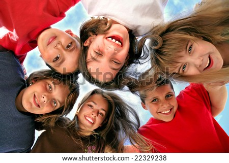 Happy Kids Representing Youth and Fun - stock photo