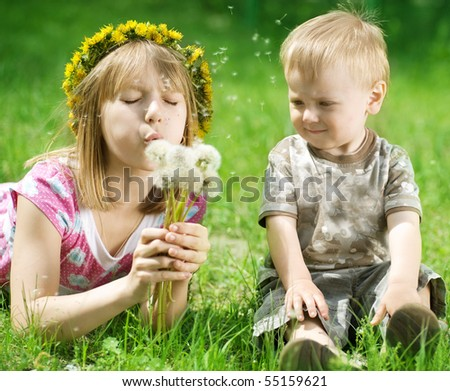 Happy kids-sister and brother outdoor