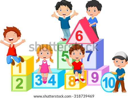 Happy  kids with numbers blocks - stock photo