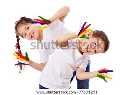 Happy kids with painted hands, isolated on white - stock photo