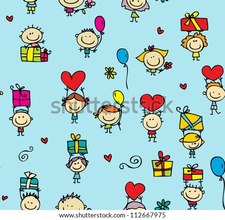 Happy kids with presents seamless background - stock photo