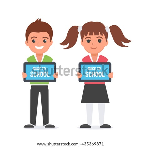 Happy kids with tablet computers in hands. Kids showing table screen.  - stock photo