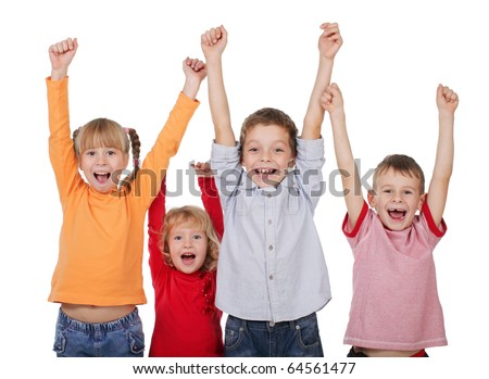 Happy kids with their hands up isolated on white - stock photo
