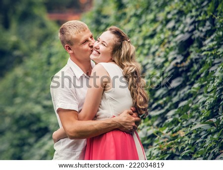 Happy kissing couple