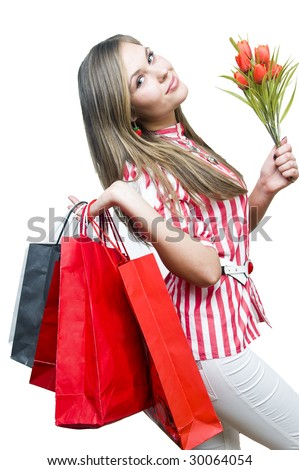 Happy lady after shopping, isolated on white - stock photo