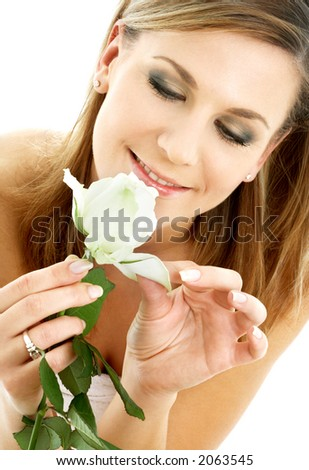 happy lady with white rose over white background - stock photo