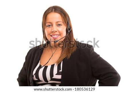 Happy large woman working as a telephone operator - stock photo