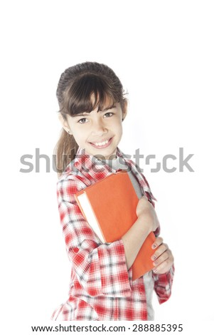 Happy latin girl smiling with books isolated on white - stock photo