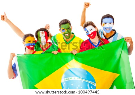 Happy Latin group holding the Brazilian flag - isolated over white - stock photo