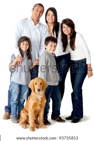 Happy Latinamerican family with a dog - isolated over a white background - stock photo