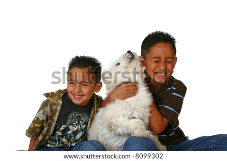 Happy Latino Children With the Family Dog Playing