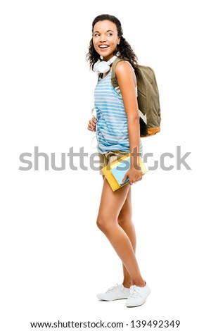 Happy latino mixed race woman student going back to school - stock photo