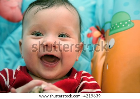 happy laughing baby - stock photo
