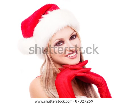 happy laughing blond woman dressed as Santa, isolated against white background