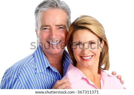 Happy laughing elderly couple. - stock photo
