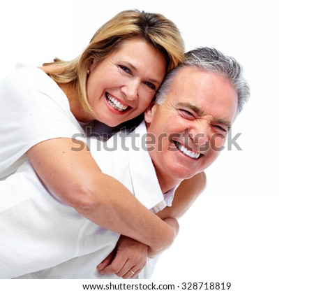 Happy laughing elderly couple isolated white background. - stock photo
