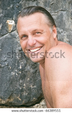 Happy laughing forties man - stock photo