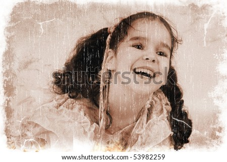 Happy laughing little girl wearing a princess dress (vintage style, with a grungy effect added) - stock photo