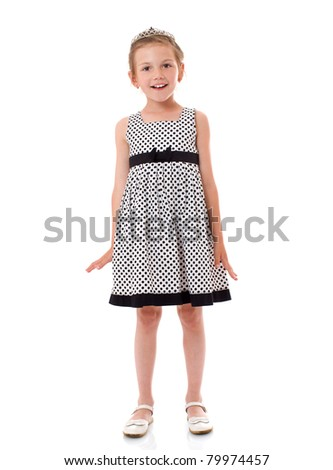Happy laughing six years girl portrait isolated - stock photo
