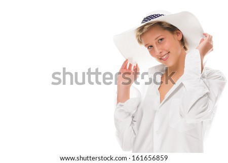 happy laughing woman wearing a sun hat on white background