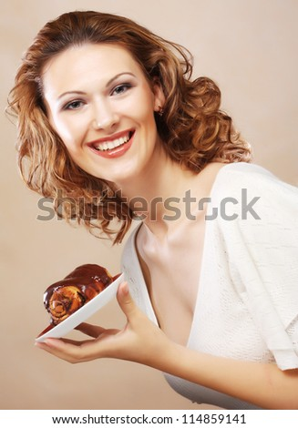 happy laughing woman with cake