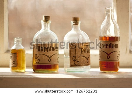 Happy life simple recipe drugstore components in a phials concept - stock photo