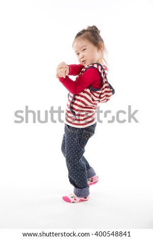 happy little asian girl on white background