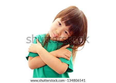 Happy little Asian girl smile - stock photo