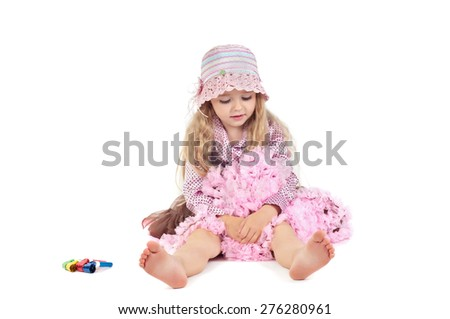 Happy little baby girl in pink tutu skirt and panama hat isolated on a white background - stock photo
