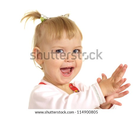happy little baby on a white background