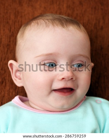 Happy Little Baby Portrait at the Home - stock photo