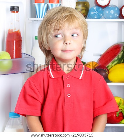 Happy little boy against refrigerator with food - stock photo