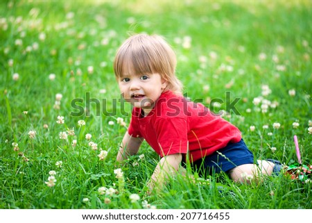 Happy little boy crawling in the grass  - stock photo