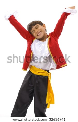Happy little boy dancing, on white background