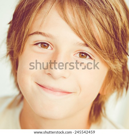 happy little boy expression - stock photo