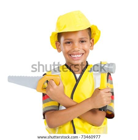 happy little boy in builder's uniform - stock photo