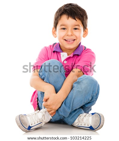 Happy little boy - isolated over a white backgorund - stock photo