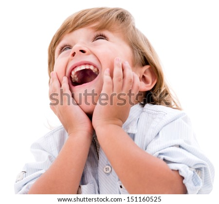 Happy little boy looking very surprised - isolated over white background  - stock photo